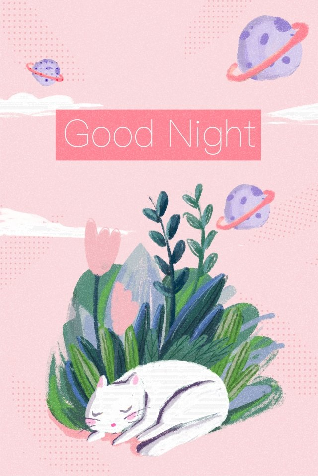 good night cat cat sleep, Go To Bed, Planet, Plant illustration image