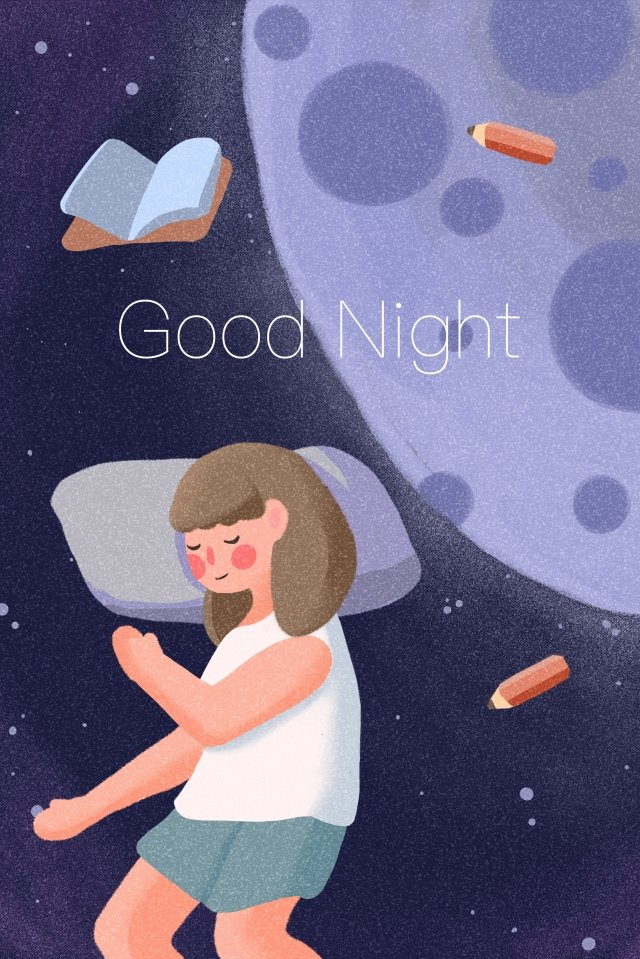 good night sleep go to bed universe, Starry Sky, Planet, Moon illustration image