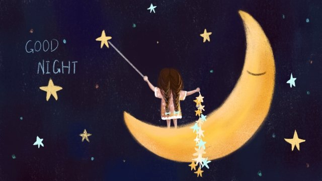 good night star girl moon, Quiet, Good Dream, Hand Painted illustration image