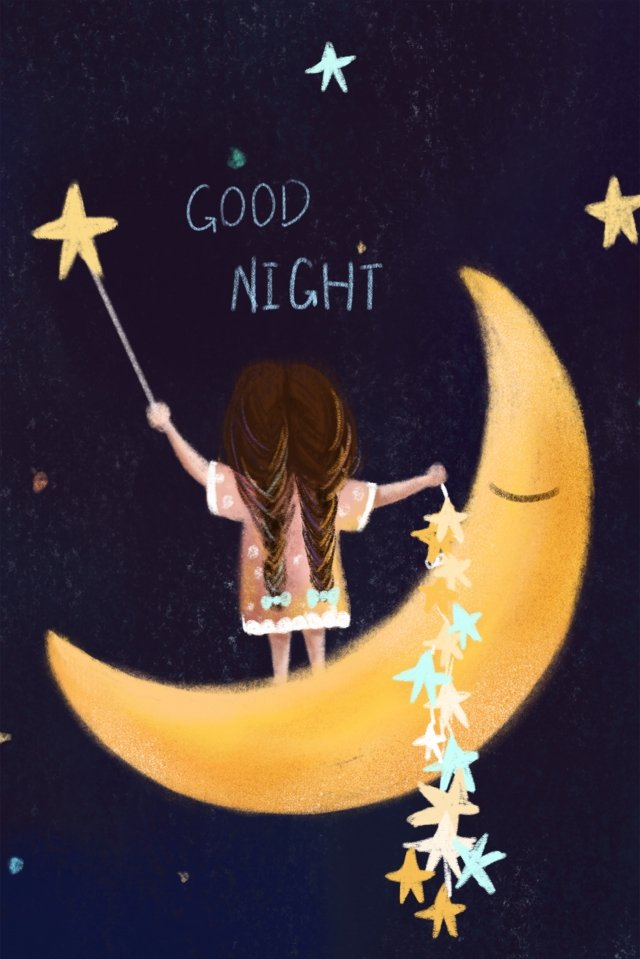 bonne nuit star girl moon image d'illustration
