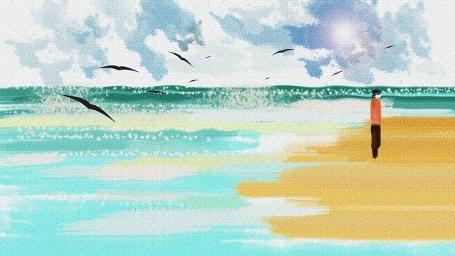 gouache blue seaside beach, Blue Sky, Seawater, Stroll illustration image