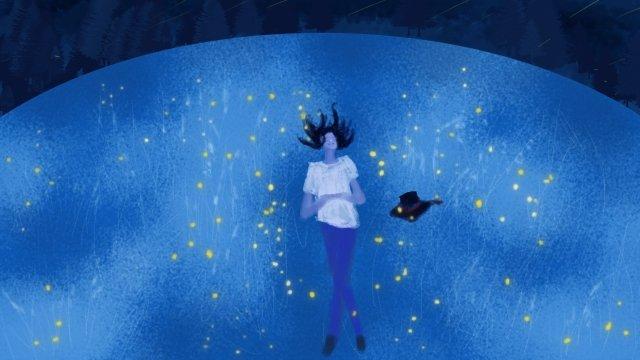 graduation bachelor cap night grassland, Firefly, Starry Night, Night illustration image