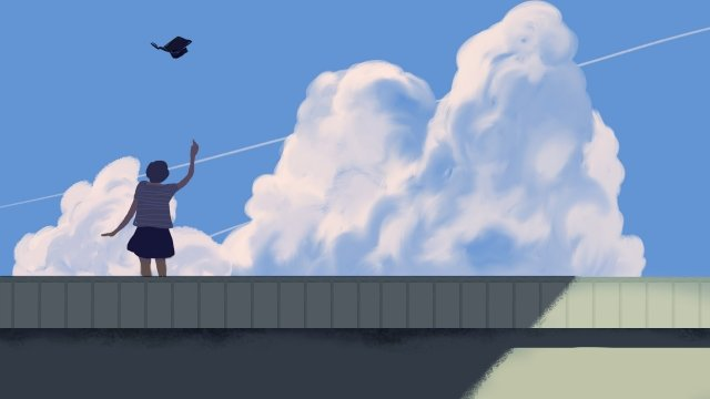 graduation bachelor cap throw a bachelor hat blue sky and white clouds, Girl, Student, Hand Painted illustration image