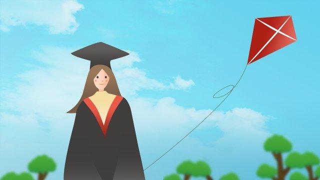 graduation season bachelor fresh blue sky, White Clouds, Kite, Trees illustration image