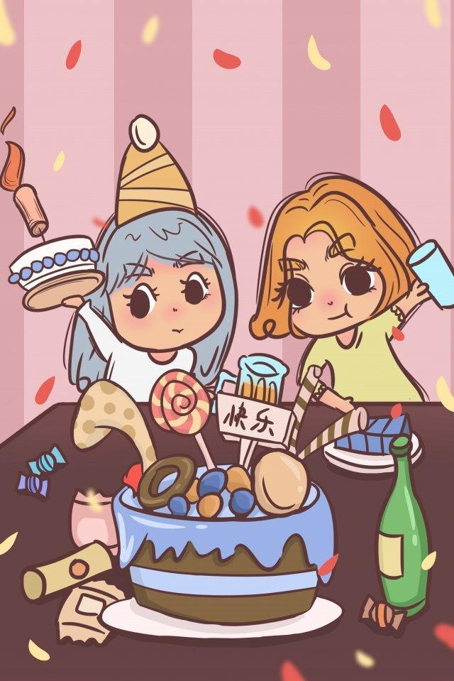 盛大的生日派對蛋糕 插畫素材 插畫圖片