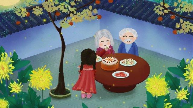 おじいさんおばあちゃん菊菊陽ケーキ イラスト素材 イラスト画像