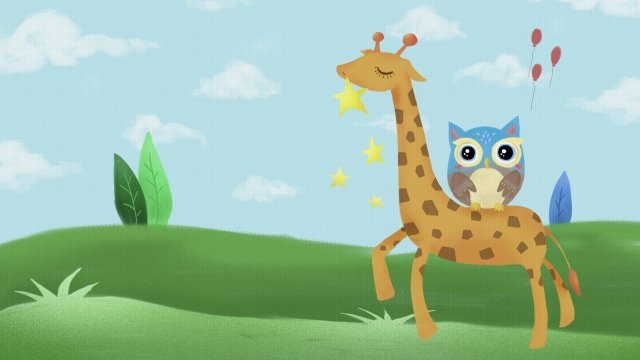 grassland animal cute pet lovely, Giraffe, Owl, Balloon illustration image