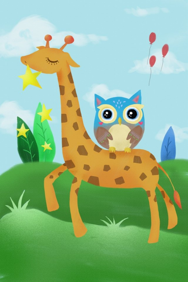 grassland animal cute pet lovely, Giraffe, Owl, Balloon illustration image
