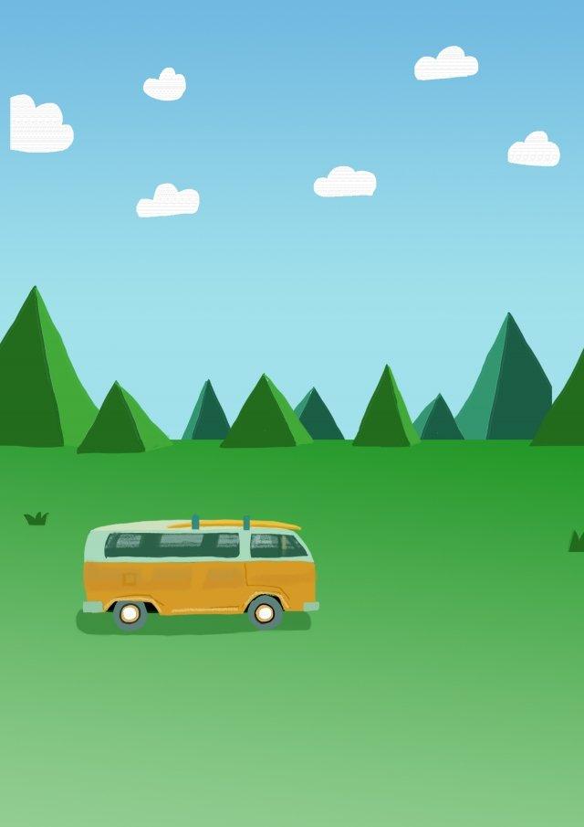 草原バス旅行観光 イラスト素材