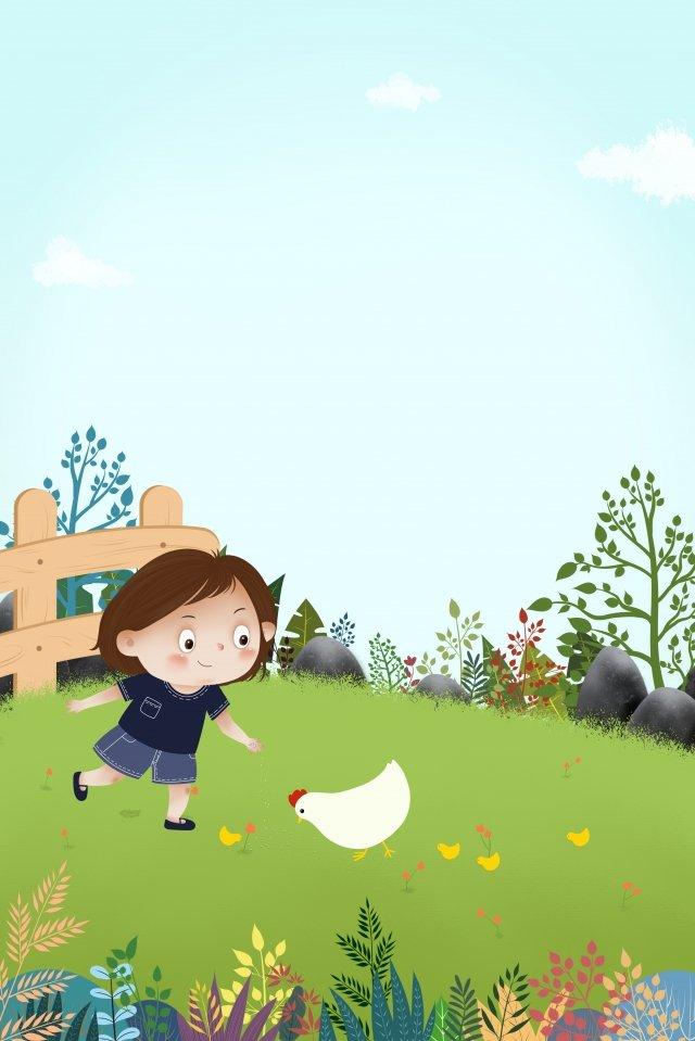 草原子供男の子花 イラスト画像