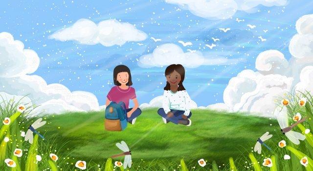 चरागाह फूल लॉन धूप चित्रण छवि चित्रण छवि
