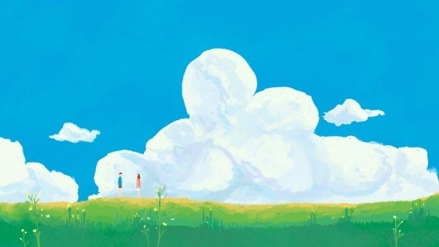 prairie espace vert étape sur des nuages blancs image d'illustration image d'illustration