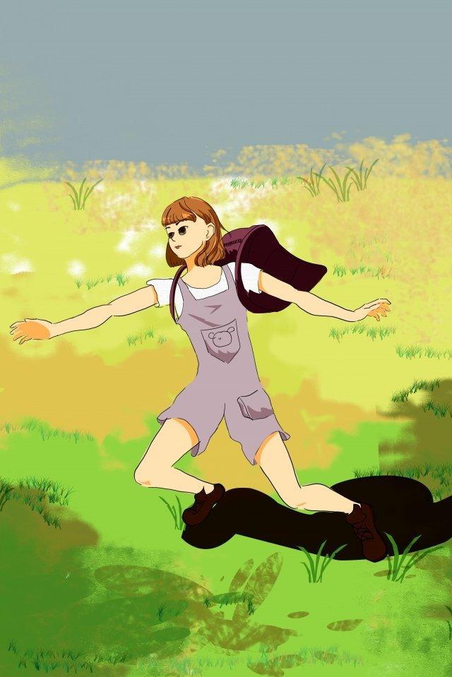 grassland landscape girl backpack, Warm Color, Youth, Lovely illustration image