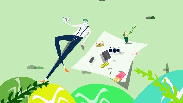 목초지는 나무 피크닉에 눕습니다 삽화 소재 삽화 이미지