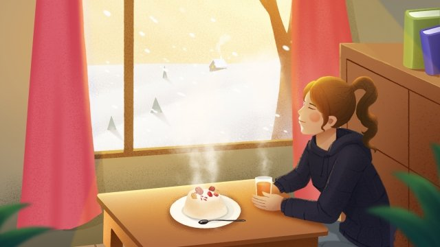 great cold babao rice snowy day girl llustration image