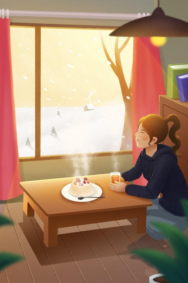 great cold babao rice snowy day girl illustration image