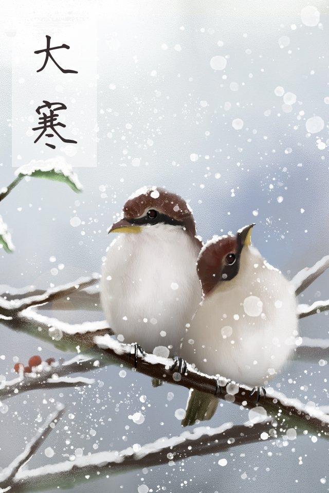 महान ठंडे डबल पक्षी एक दूसरे को गर्म करते हैं चित्रण छवि चित्रण छवि
