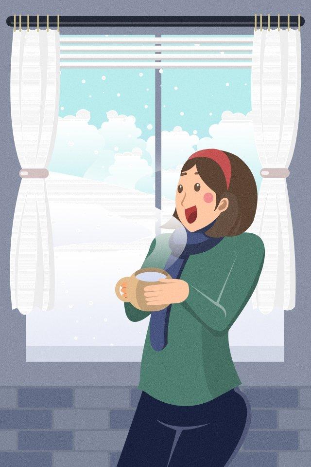 grande frio bebendo água quente vinte e quatro termos solares neve apreciação Material de ilustração Imagens de ilustração