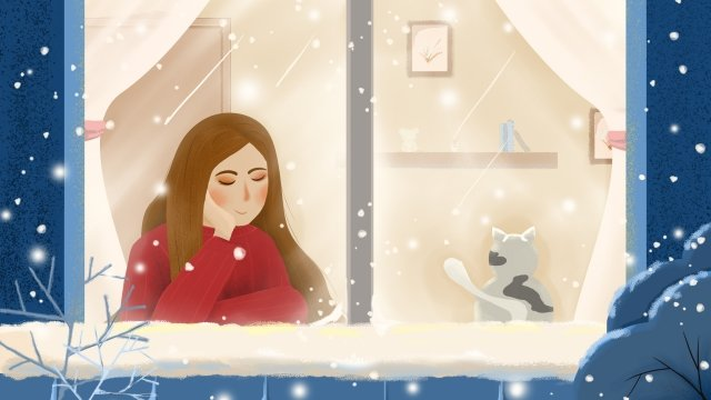 great cold hand painted blue cat, Girl, Warm, Snowflake illustration image