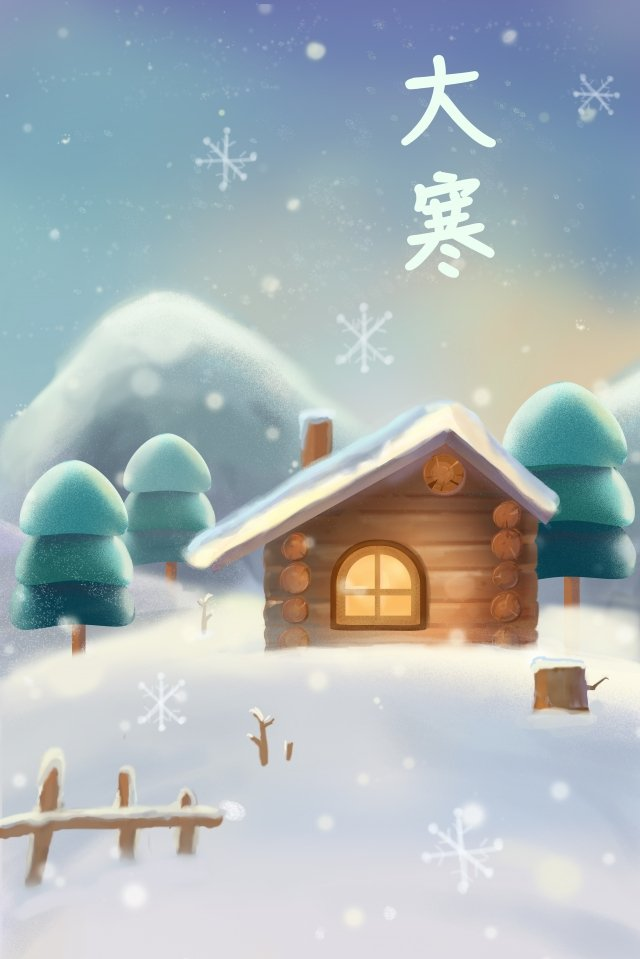 great cold hand painted snow snow scene llustration image