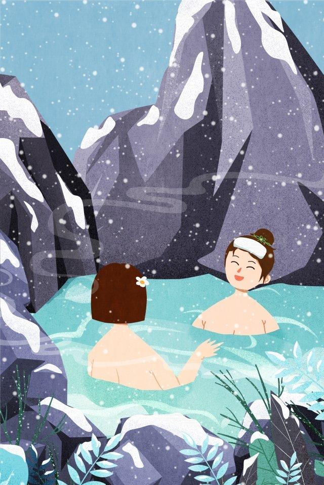 위대한 추위 심한 겨울 스파 인생 삽화 소재