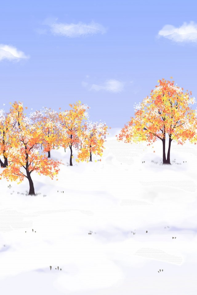 great cold snow maple sky llustration image