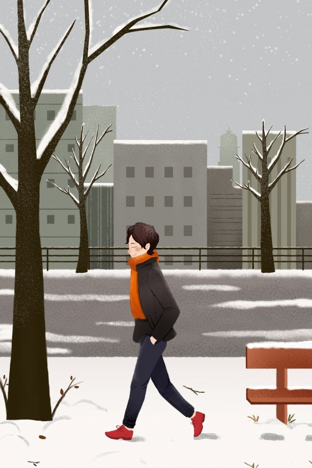 great cold solar terms snowy day city llustration image illustration image