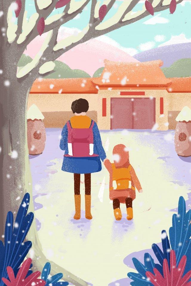 대단한 추운 봄 축제 돌아온 집 그림 그림 이미지 일러스트레이션 이미지