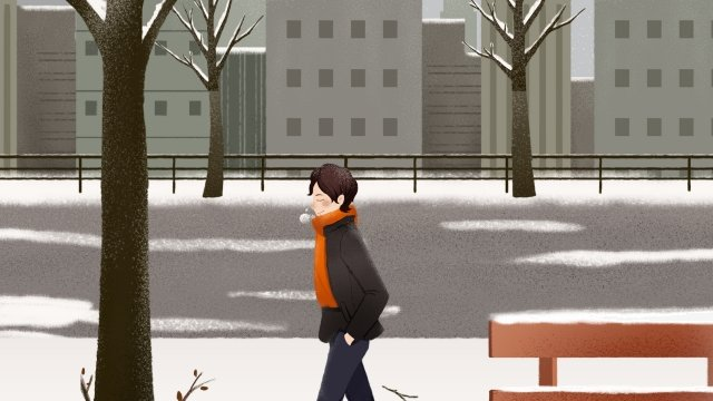 great cold winter heavy snow pedestrian llustration image