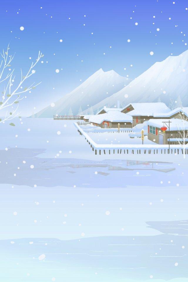 위대한 추운 겨울 눈 현장 마을 삽화 소재 삽화 이미지