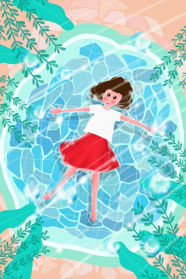 說謊在水例證夏天的熱的女孩 插畫素材