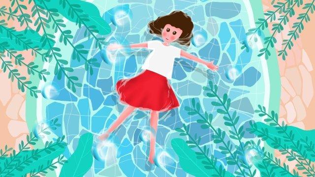 大暑躺在水上的少女插畫 大暑 躺在水上的少女 插畫 夏天 夏季 節氣 紅色 藍色 季節 卡通 女孩 唯美 泳池大暑  躺在水上的少女  插畫PNG和PSD圖片素材 illustration image