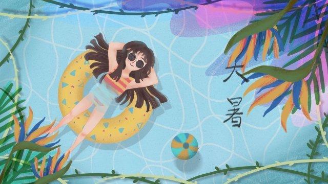 炎熱的夏季熱帶 插畫素材