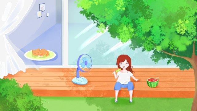 大暑節氣手繪插畫 大暑 盛夏 夏天 清涼 樹蔭 二十四節氣 節氣 大暑插畫 手繪大暑  盛夏  夏天PNG和PSD圖片素材 illustration image