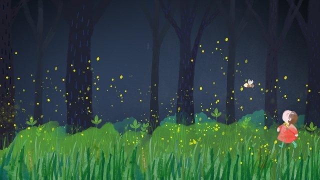 大暑 盛夏 夏夜 螢火 森系 大暑 盛夏 夏天 清涼 手繪 螢火蟲 森系 草叢 夜 溫暖、清新、幸福大暑  盛夏  夏夜PNG和PSD圖片素材 illustration image