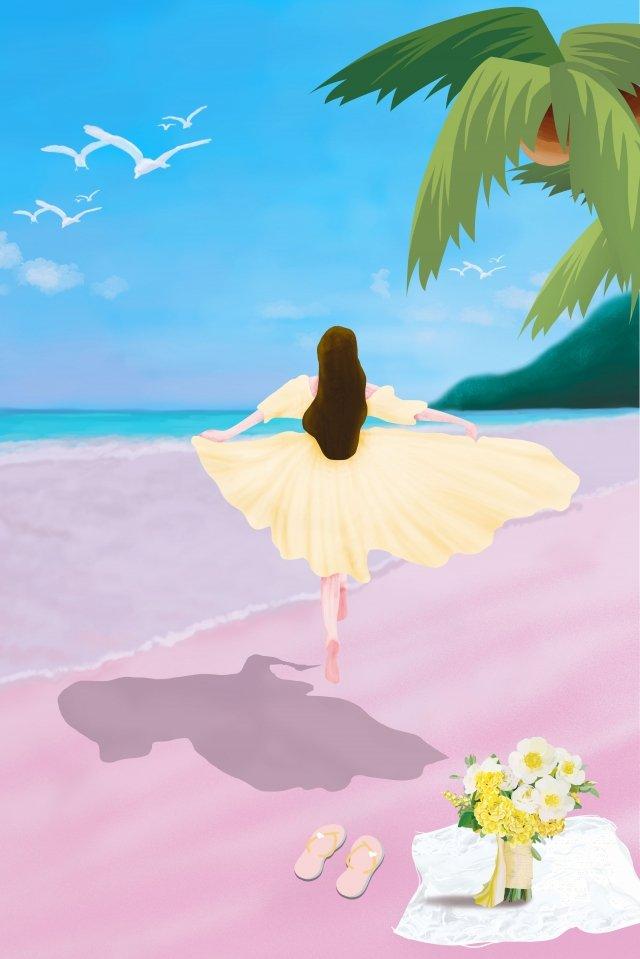 偉大的熱海邊度假少女 插畫圖片