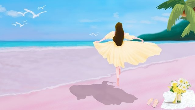great heat seaside vacation teenage girl llustration image