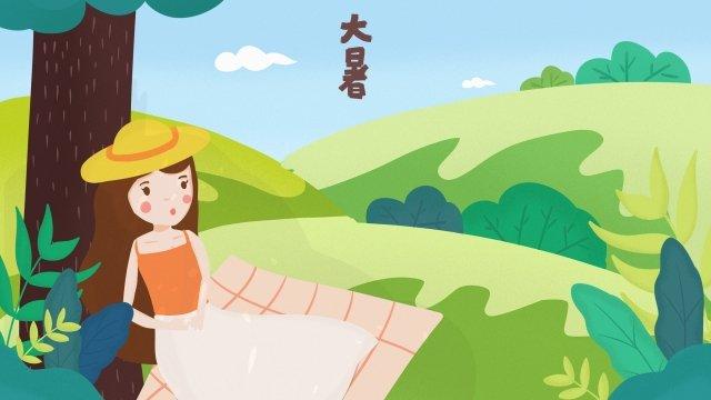 위대한 열 태양 용어 산 풍경 삽화 소재 삽화 이미지
