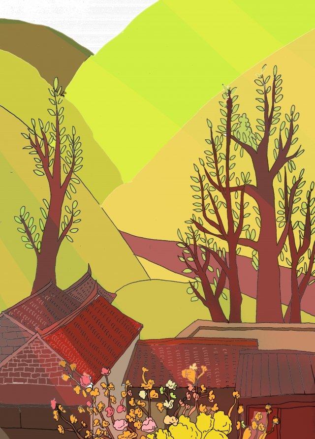 炎熱的夏天芒果樹種 插畫素材