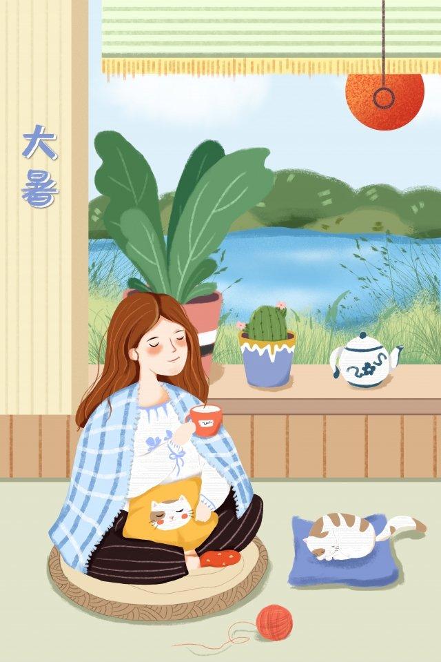 炎熱的夏天夏天喝茶 插畫素材 插畫圖片