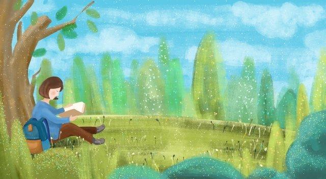 グリーンブルーツリーの芝生 イラストレーション画像 イラスト画像