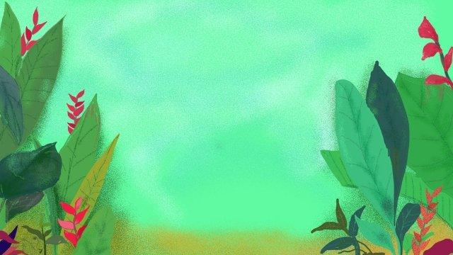 Зеленый мультфильм рисованной растения Зеленый лист Ресурсы иллюстрации