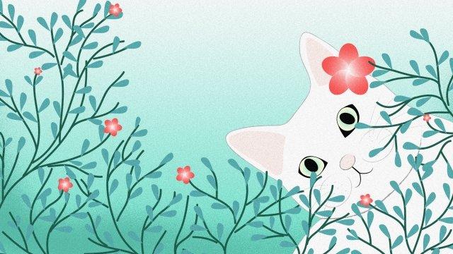 緑の猫草の花 イラストレーション画像