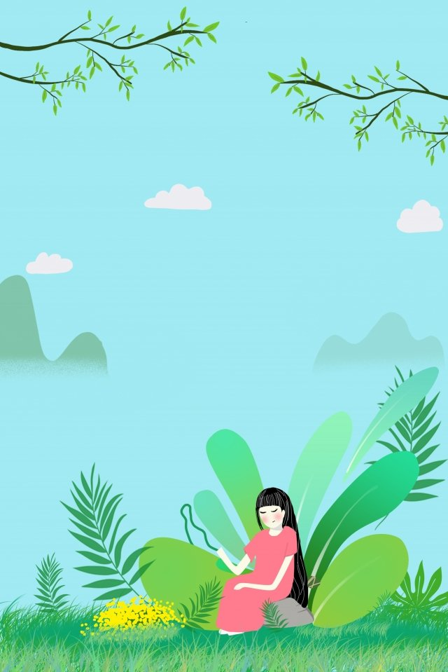 green dragon boat festival hand painted cartoon, Girl, Grass, Flower illustration image