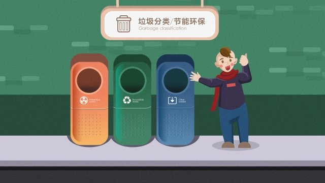 green energy conservation garbage classification environmental protection, Energy-saving, Garbage, Rational illustration image