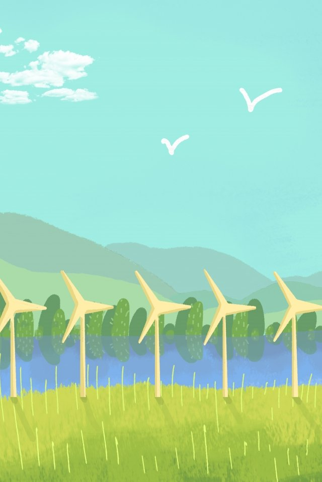 green environmental protection hand drawn illustration wind power, Blue Sky, White Clouds, Far Mountain illustration image