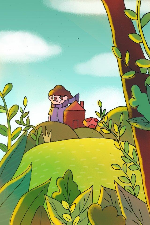 हरी ताजा मैदान घास लड़का चित्रण छवि
