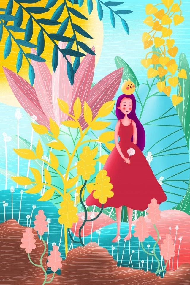 green literary simple ad, Vitality, Spring, Cactus illustration image