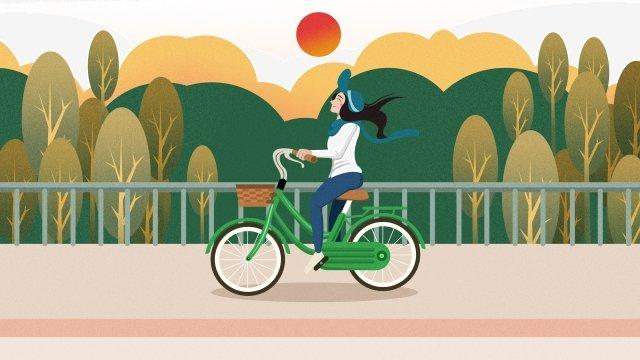 Ilustração de garota de ciclista de viagem verde e baixo carbono Green Viagens de baixoBaixo  Ilustração  De PNG E PSD illustration image