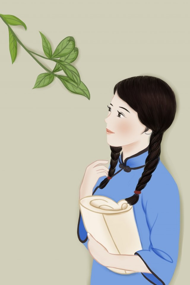 green plant girl republic of china student, China, Female, Student illustration image